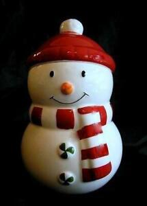 "Hallmark Exclusive Snowman Ceramic Holiday Small 8"" Cookie Candy Treat Jar Gift"