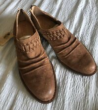 Born Katharina Distressed Suede Western Booties -Camel/Tobacco -  Women 7 - New