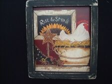 """Primitive Country Print **RISE & SHINE CHICKEN** in black frame 8 1/2"""" x 8 1/2"""""""
