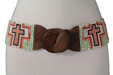 Women Western Fashion Belt Wide Stretch Pastel Cross Bead Brown Wood Buckle M L