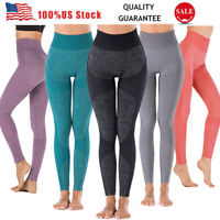 Women's Seamless Leggings High Waisted Push Up Trousers Fitness Yoga Pants TBN