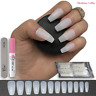 60-600x COFFIN false NAILS medium FULL COVER NATURAL fake Opaque tips ✅FREE GLUE