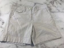 Jennifer & Grace Womens Size 10 Brown White Striped Shorts Bermuda Casual Pocket