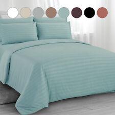 Satin Stripe Duvet Cover with Pillowcase Quilt Bedding Set Double King