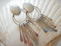 Vintagte Taxco Mexico Sterling Silver Lg Mother of Pearl Dangles Earrings 4953F