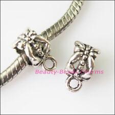 10Pcs Tibetan Silver Flower Bail Bead Fit Bracelet Charms Connectors 6.5x11.5mm