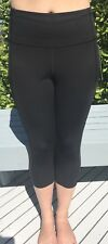 "Lululemon Size 12 Fast Free Crop II Nulux 19"" Black Yoga Run Pant Speed"