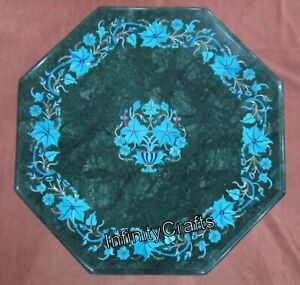 12 Inch Marble Coffee Table Top Inlay Semi Precious Gemstones End Table for Home