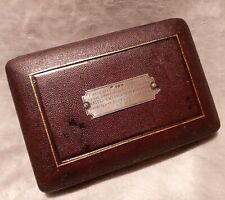Antique Red Velvet Fitted Compass/Scientific Instrument Case Interesting Inscrip