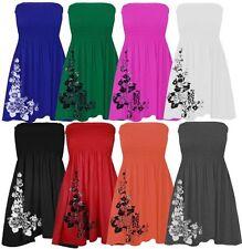 Ladies Women's Sheering Bandeau Boobtube Floral Top Mini Dress 8-18
