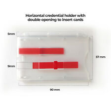 Horizontal Rigid 2-Card Dispenser Badge Holder with Red Extractor Slides