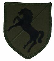 US ARMY 11TH ACR ARMORED CAVALRY REGIMENT BLACKHORSE VETERAN PATCH OD GREEN