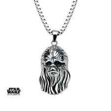 STAR WARS - CHEWBACCA HEAD 3D STAINLESS STEEL PENDANT ON CHAIN NECKLACE (NEW)
