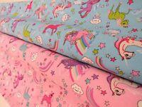 Princess Unicorn Rainbow Cotton Fabric Curtain Upholstery Quilting Crafts pink