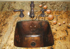Copper Square Hammered Bar Prep Sink With Fleur De Lis
