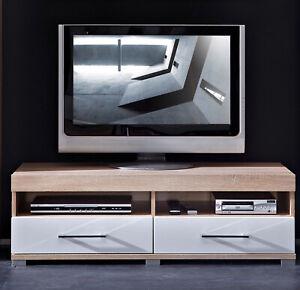 TV-Lowboard Drive Plus 2 offene Fächer 2 SBK Sonoma Eiche hell Weiß MDF 120 cm