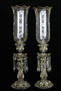 Pair 19th Century Baccarat CANDELABRA LUSTERS