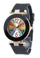 Montre bracelet noir avect chiffres multicolores, a quartz.pour femme.