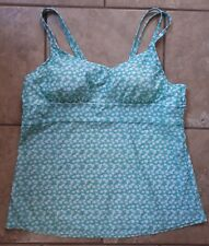 Tropical Escape Mint Green Flowered Strappy Tankini Top Size XL