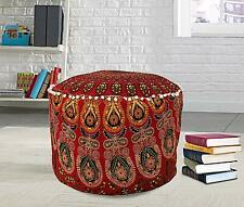 Red Bohemian home decor ottoman pouf cover Cotton mandala Floor Pillow Footstool