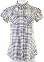 LEVI'S Womens Shirt Short Sleeve Size 10 Small Multi Check Cotton  MB11