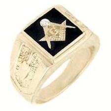 18K Gold Ep Masonic Freemason Mens Ring sz 9-14 black you choose size mason 33