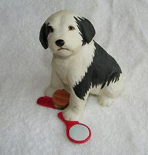 Franklin Mint Black & White SheepDog Porcelain Dog Figurine w/ith Comb & Mirror