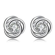 ZARD Women Elegant Sterling Silver CZ Twist Love Knot Stud Earrings