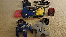 Pikachu Nintendo 64 w/Cords, 2 Controllers, Pokedex, Pokemon Stadium and Red