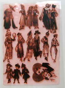"""Clear Stamps Sheet 7""""x10"""" ~ Vintage Fashion Belle Epoque FLONZ Rubber 403-043"""