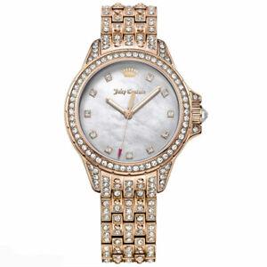 NIB Juicy Couture Women's Malibu Crystal Covered Bracelet Watch Rose Gold