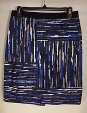 Ann Taylor Skirt Straight Pencil Cotton Spandex Lined Striped Pattern 6P