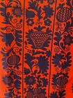 Vintage Linen Tea Towel by Audrey-70's-Fragonard-Red and Black Flowers