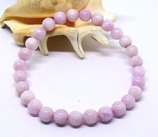 NATURAL CAT'S EYE PINK KUNZITE 7mm ROUND BEADS STRETCH BRACELET 7.25""