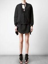 Womens 3.1 Phillip Lim Black Jacquard Zipper Bomber Jacket Coat Size 2