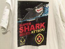 SUPER SHARK ATTACK (MEGA BITE) VIDEO GAME PARODY T-SHIRT (XL)OLD SCHOOL- RARE