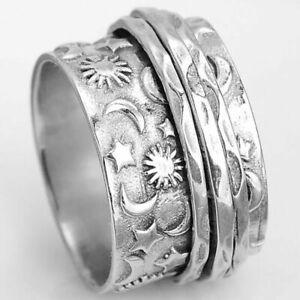 Vintage Boho Women 925 Silver Star Moon Sun Ring Winding Band Rings Size 5-10