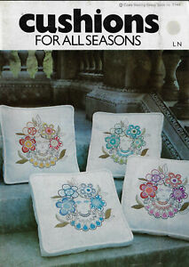 Coats 1144 Cushions for All Seasons vintage embroidery book + transfer sheets