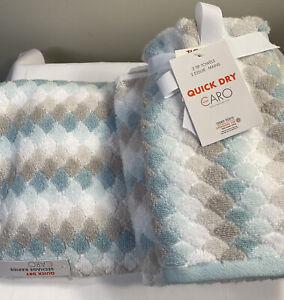 Caro Home Salina Seaglass Quick Dry, 2 Tip, 1 Hand Towel, And 1 Bath Towel Set