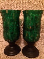 hurricane Mosaic candle holder set Green Decorative Home Decor 9.5""