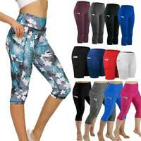 Womens 3/4 Capri Yoga Pants Gym Fitness Sports Cropped Leggings With Pockets G5