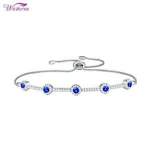 Adjustable Chain Bracelet For Women 1.2ct Sterling Silver Round Cz Blue Sapphire