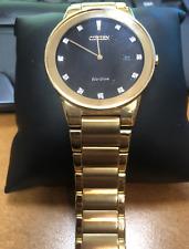 Pre-owned Citizen Men's AU1062-56G Axiom Black Dial Gold Tone Diamond Eco-Drive