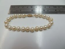 """7 1/4"""" Lustrous Cultured Pearl Bracelet with 14K Yellow Gold Fishhook Clasp"""