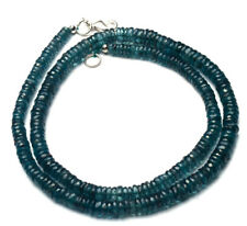 NATURAL GEM RARE GREEN COLOR KYANITE 5 to 6MM FACETED HEISHI BEADS NECKLACE 18""