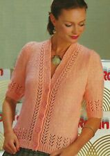 Ladies Lacy SUMMER CARDIGAN tie front KNITTING PATTERN Cotton 4 ply 32-42 inch