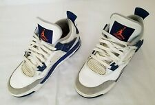Youth Size 9Y Grey Blue White Nike Air Jordan Retro 4 Sneakers 487471-004 used
