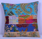 "Handmade Multi Floral Cushion Cover Kantha 40cm Pillow Case Patchwork Art 16"""