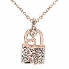 Cz Luxxe Jewelry Swarovski Element 18k Gold Plated, Crystal Lock & Key Necklace