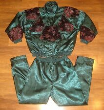 Vtg 80s LAVON Windbreaker MEDIUM Iridescent Green TRACK SUIT Jacket Coat Pants M